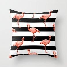 Simply Flamingo Deep Coral on Midnight Black Stripes Throw Pillow
