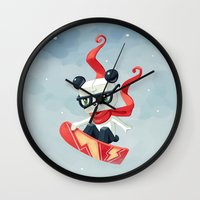 snowboard Wall Clocks featuring Snowboarding by Freeminds