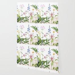 Botanical Garden Flower Wildflower Watercolor Art Wallpaper