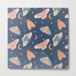 Moth & Moons Pattern - Midnight Blue Metal Print