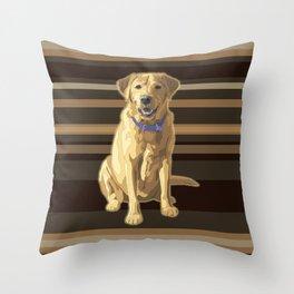 Happy Yellow Labrador Retriever Retro Throw Pillow