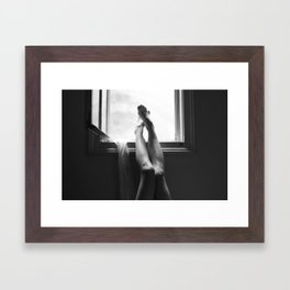 digital photo photography legs window figure woman black and white Framed Art Print