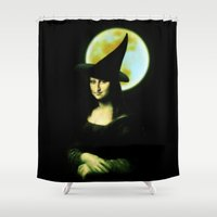 mona lisa Shower Curtains featuring Mona Lisa Witchy Woman by Gravityx9