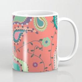 Boho Paisley on Coral Coffee Mug