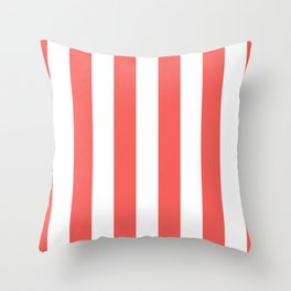 Large Bean Red and White Vertical Cabana Tent Stripes Throw Pillow