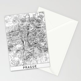 Prague White Map Stationery Cards