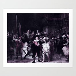 The Nightwatch by Rembrandt -  infrared version Art Print