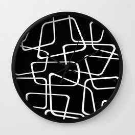 Mid Century Black and White Pattern Wall Clock