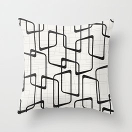 Black Retro Rounded Rectangles Geometric Pattern Throw Pillow