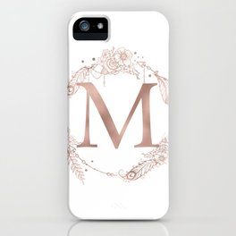 Letter M Rose Gold Pink Initial Monogram iPhone Case