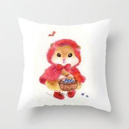 Little Red Riding Hood hamster Throw Pillow