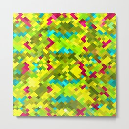 square pixel pattern abstract in yellow green blue red Metal Print