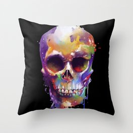 colorful skull black Throw Pillow
