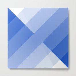 Blue and white angled Gradient Metal Print