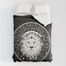Leo Lion Zodiac on Black Comforters