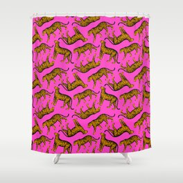 Tigers (Magenta and Marigold) Shower Curtain