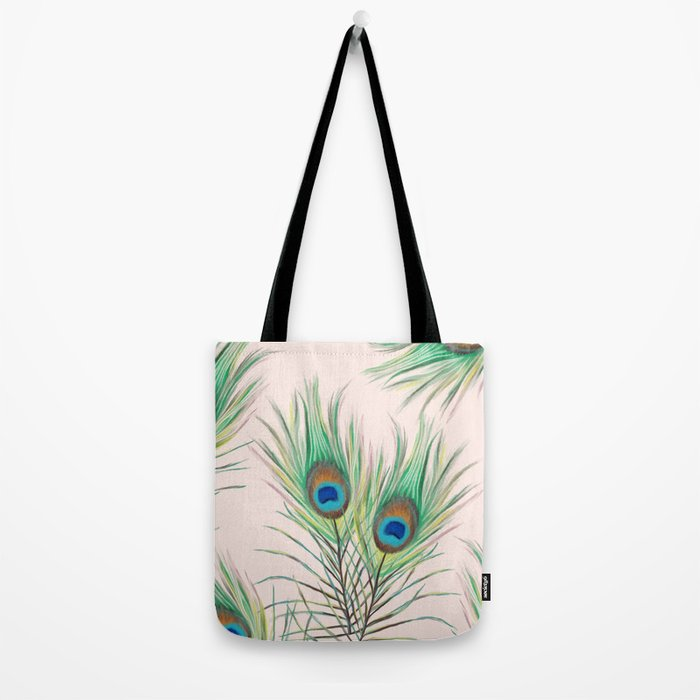 Unique Peacock Feathers Pattern Tote Bag