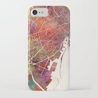 barcelona iPhone & iPod Cases featuring Barcelona by MapMapMaps.Watercolors