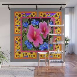 GREY PINK TROPICAL HIBISCUS BLUE-YELLOW FLOWERS Wall Mural