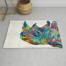 Rhino Rhinoceros Art - Looking Up - By Sharon Cummings Rug