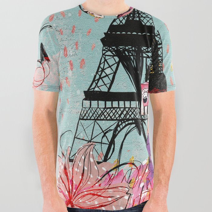 3cda80011 Fashion girl in Paris - Shopping at the EiffelTower All Over Graphic Tee