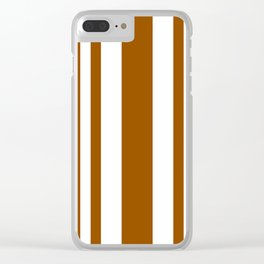 Mixed Vertical Stripes - White and Brown Clear iPhone Case