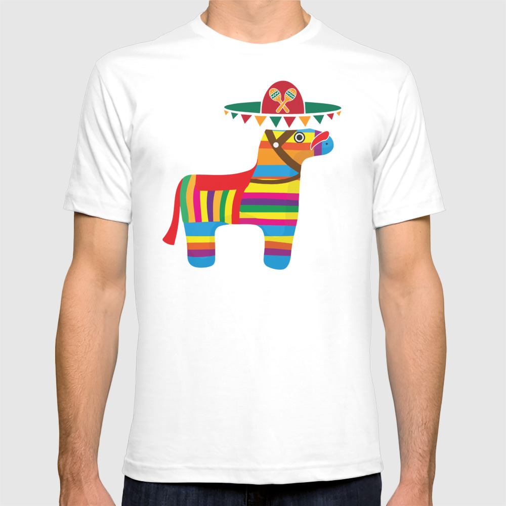 Pinata With Sombrero Mustache Cinco De Mayo T-shirt by Teepsy TSR8927497