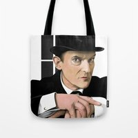 sherlock holmes Tote Bags featuring Sherlock Holmes by Andy Harrison