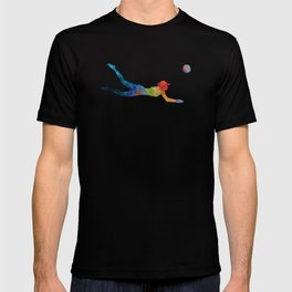 Woman beach volley ball player 01 in watercolor T-shirt
