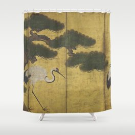 Japanese Red Crowned Crane Edo Jidai Gold Screen Print Shower Curtain