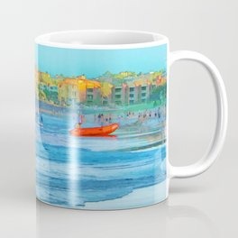 Abstract summer fun and surf rescue boat Coffee Mug