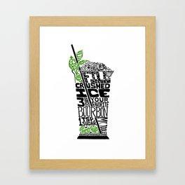 Mint Julep - Cocktail Recipe - Kentucky Derby bourbon Linoleum Cut Letterpress Design - BirdsFlyOver Framed Art Print