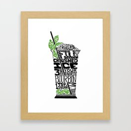 Mint Julep - Cocktail Recipe - Kentucky Derby bourbon Linoleum Cut Letterpress Design - BirdsFlyOver Framed Art Print