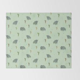 Bison Pattern Pistachio Throw Blanket