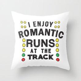 Romantic runs at the track Throw Pillow