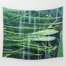 Tropical Rain Yucca Tree Leaves Wall Tapestry