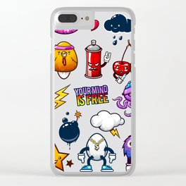 Hand drawn creatures in graffiti style Clear iPhone Case