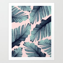 Blush Banana Leaves Dream #9 #tropical #decor #art #society6 Art Print