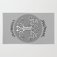 vikings Area & Throw Rugs featuring Yggdrasil, Vikings by ZsaMo Design