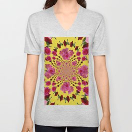 PINK-RED ROSES ON YELLOW-PINK ART Unisex V-Neck