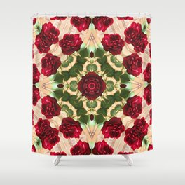 Old Red Rose Kaleidoscope 6 Shower Curtain