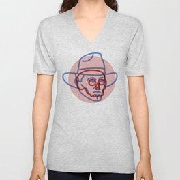 Cowboy Skull - Tattoo Style - Southwest Inspired Pop Art by CJ Hughes Unisex V-Neck