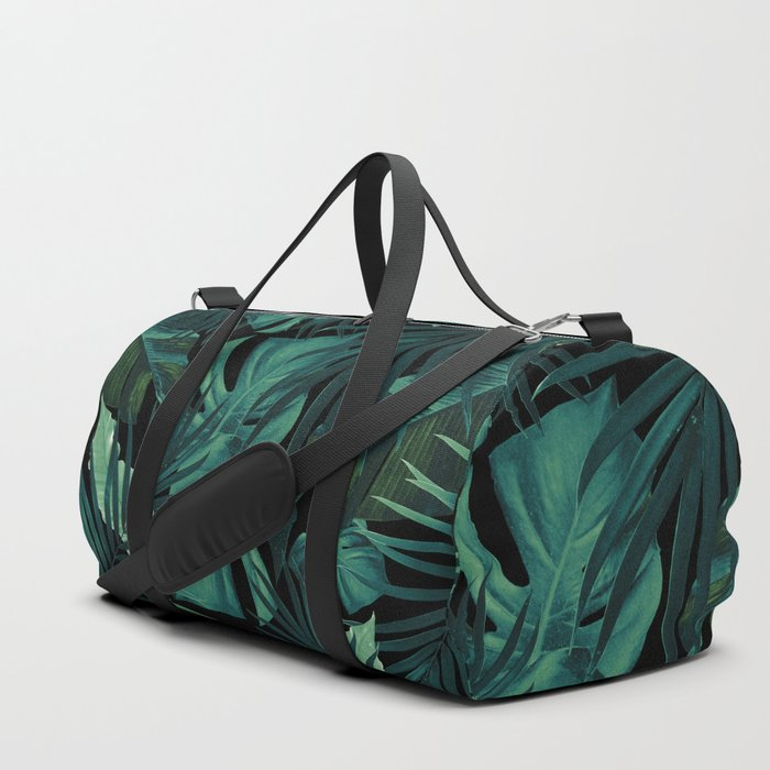 Tropical Jungle Night Leaves Pattern #1 #tropical #decor #art #society6 Duffle Bag