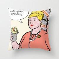lichtenstein Throw Pillows featuring Pam Lichtenstein by turantuluy