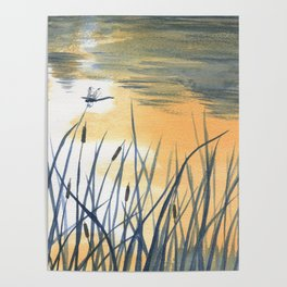 Dawn on the pond Poster