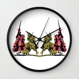 medieval knights with sword and lance Wall Clock