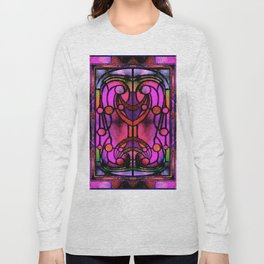 Pink and Purple Stained Glass Victorian Design Long Sleeve T-shirt