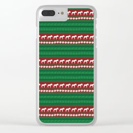 Moose red and green Pattern Clear iPhone Case