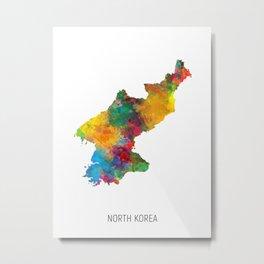 North Korea Watercolor Map Metal Print