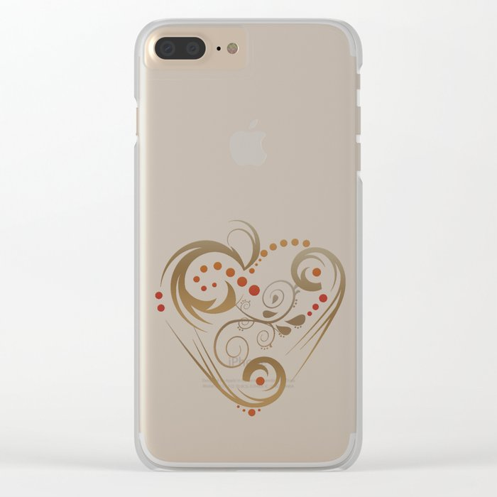 GOLDEN HEART  (valentine art deco abstract love) Clear iPhone Case